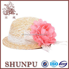 children hand made knitted straw hats with flowers