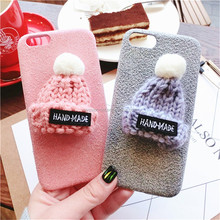 Luxury phone Back Cover for IPhone 6 Warm Fur Ball Case Plush 3D Hat Phone Case for Iphone 6 6s 6plus 7 7plus 5SE