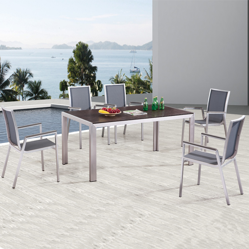 outdoor aluminum furniture garden patio fabric chairs hotel/restaurant dining table set
