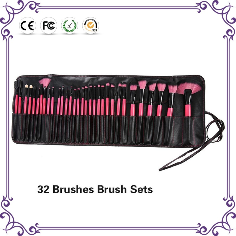 Wholesale 2018 24/32 pcs private label make up brushes soft goat hair colorful cosmetics makeup brushes set !