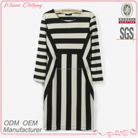 New design fashion stripe print fancy smart elegant casual dress for fat women