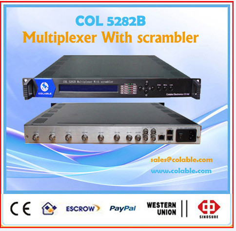 Dvb c/s/s2,isdb t optional 6 tuners 2 asi multiplexer with scrambler tv channels 4 CAS COL5282C
