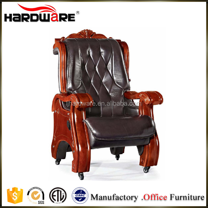 2016 Luxury solid wooden royal wooden boss chair with wheels