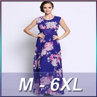 Women casual one piece dress in floral print big size women dress evening dress chinese clothing manufacturers