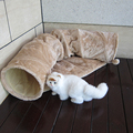 Luxury Plush cat tunnel tunnel pet beds with pet soft mat outside