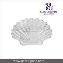 8 inch Shell Shape Design High White Quality Machine Made Glass Plate Transparent Glass Fruit Plate Glassware