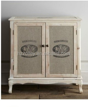 European villa Decorative Side Cabinet, Hand Painted 2-Door console table/accent oak wood Living Room Furniture