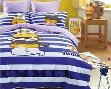 cute cat print bedding set with 40s 100% twill cotton fabric