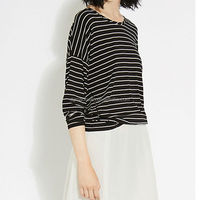 long sleeve casual black white cotton happiness stripe T-shirt