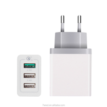 EU Plug 3 USB Port QC 3.0 Quick Charger Travel Charger With Folding Foot