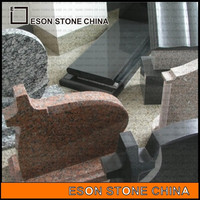eson stone 83 red granite kart cross tombstone with top quality