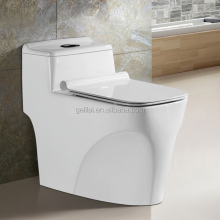 One Piece Structure and Square Toilet Bowl Shape siphonic sanitary ware in hotel bathroom