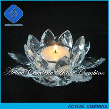 for North Amercia glass crystal lotus flower candle holder wedding favors