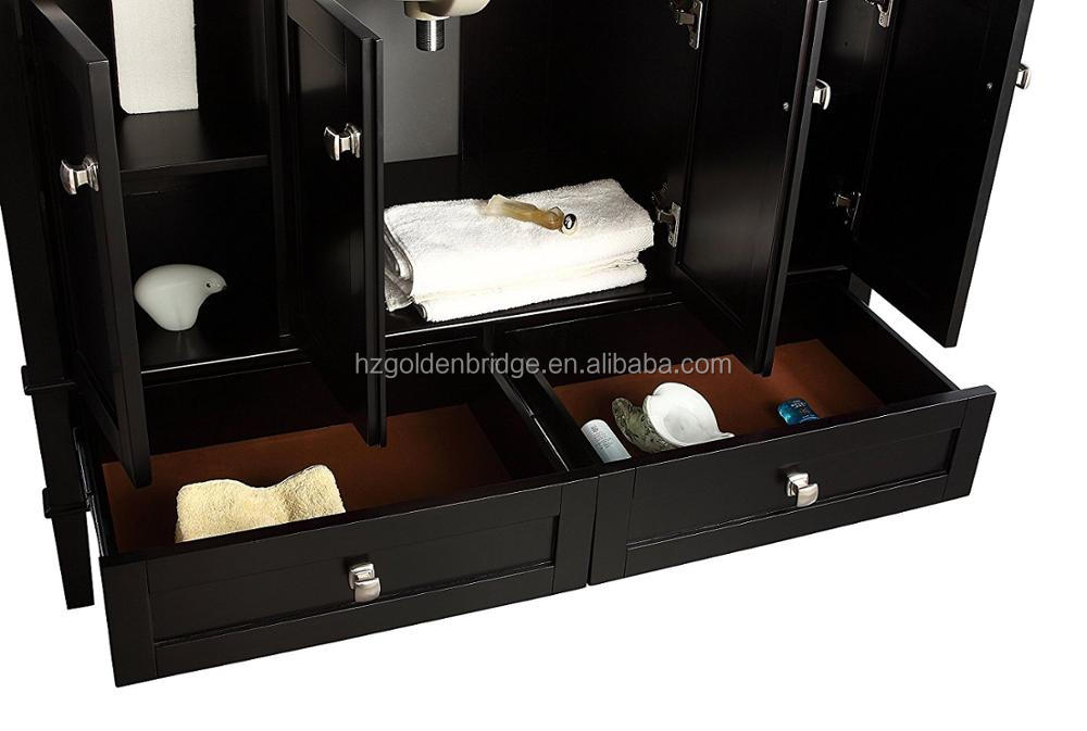 "48"" Solid Wood Hotel Bathroom Vanity Design Cabinet with Wash Basin"
