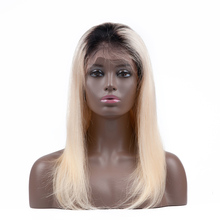 Dark Roots Two Tone #1b/613 Blonde Human Hair Short Bob Lace Front Wig Ombre Full Lace Wig