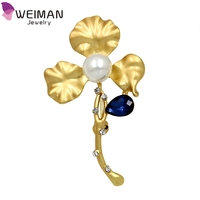 Fashion Jewelry Crystal Rhinestone Pearl Flower Brooch Wholesale