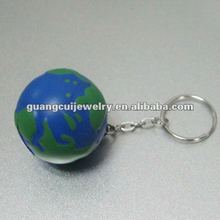 fashion pu globe key chain earth keychain