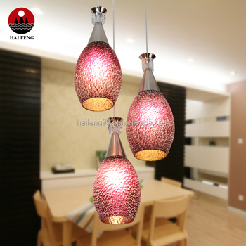 E27 red glass pendant light with 3 heads restaurant pendant lamp