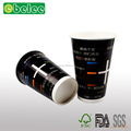 Black heat isolation paper coffee cup coffee paper cup with lid