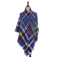 Wholesale Fashionable Sqaure Acrylic Plaid infinity scarf