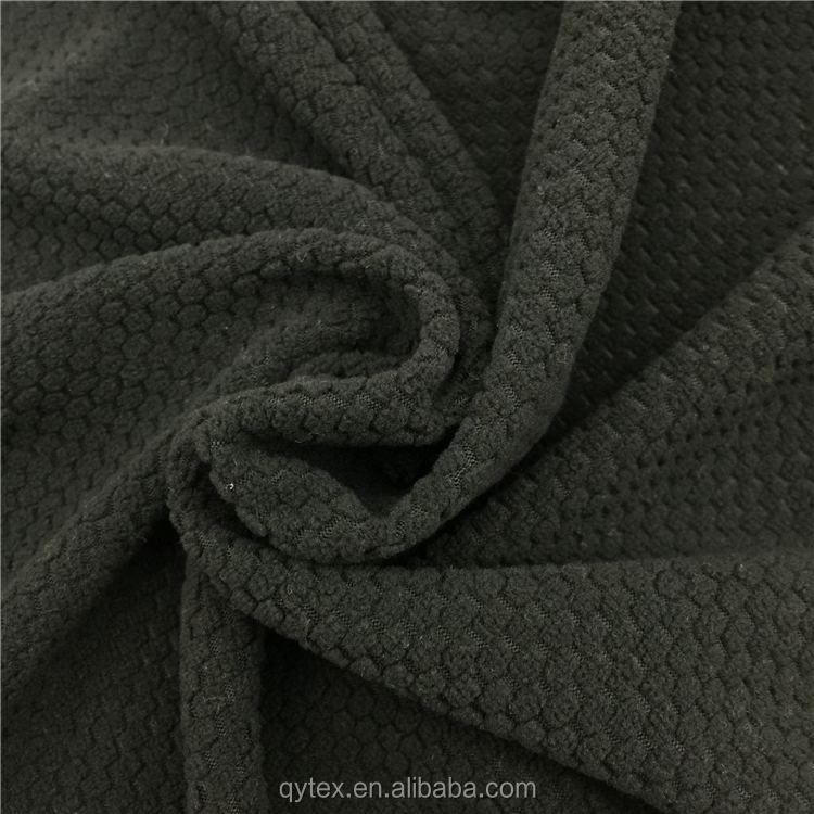 Factory Supply Dyed Black Anti-pilling Jacquard Micro Polar Fleece Fabric in 100%Polyester for Winter Garment