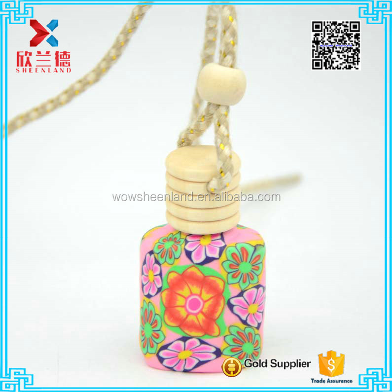 beautiful flower polymer clay car diffuser glass bottle 10ml