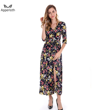 2018 New Style V Neck Flower Printing Long Maxi Dress Women Long One Piece Dress