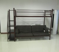 Twin Over Futon sofa Metal Bunk Bed, Brownish Red