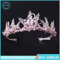 HG412 Bridal Sweet Pink Handmade Leaf Butterfly Crown Flower Hair Accessories Wedding Accessories Tiara