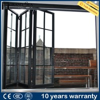 Hot sale double glazed glass accordion partition door low price