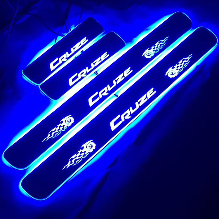 custom design acrylic RGB led moving door sill plates guard for Chevrolet Cruze