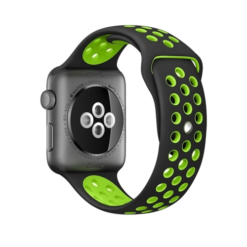 Fashionable Classical Silicone Sport Watchband For SmartWatch Series 1 & Series 2 & Nike+ Sport 42mm Black + Green