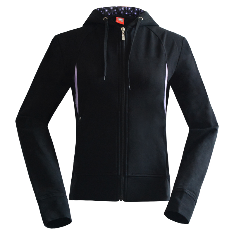 Online shopping wholesale plain black women hoodie with zip