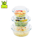 High borosilicate transparent microwave glass casserole with glass lid