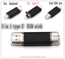 Waterproof Type C 3 in 1 USB flash drive, pen drive for samsung, Android smart phones hot selling Amazon