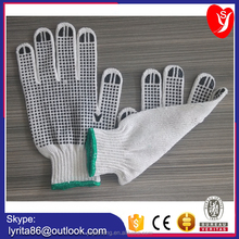 7/10 gauge bleached white PVC dotted cotton gloves PVC dotted white safety working cotton glove/EN 388 EN 420