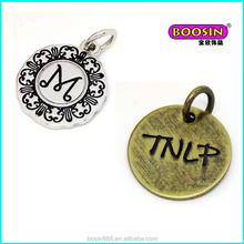 Cheap zinc alloy engraved company brand logo metal jewelry tag charm wholesale #1938