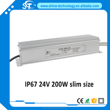 High quality 24v 200w waterproof led driver from shenzhen factory, small size ups waterproof power supply