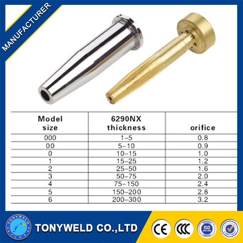 Chinal wholesale welding tips 6290NX gas cutting nozzle size