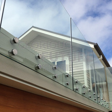 19mm clear float toughened frameless glass balustrades