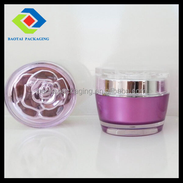 Double wall cosmetic packaging flower cap acrylic cream jar PMMA cosmetic container