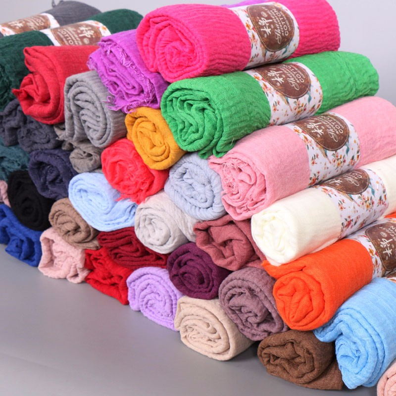45 colors Europe and America popular scarf fashion plain wrinkle shawls 2016 winter new design scarves/pashmina
