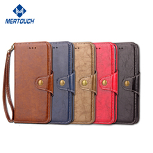 Retro PU leather flip wallet case for iphone X 2 card holder comfortable touch feeling cell phone case with lanyard