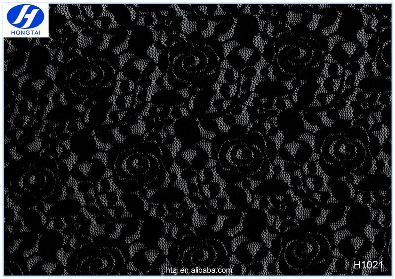 2017 Hongtai factory produce new design floral elastic nylon lace fabric