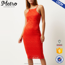 Wholesale Women Red Off-shoulder Lace Bodycon Dress