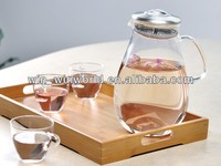 Handmade Borosilicate Glass Water Jug With Stainless Steel Strainer