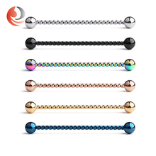 Surgical steel fake barbell vibrating industrial piercing jewelry