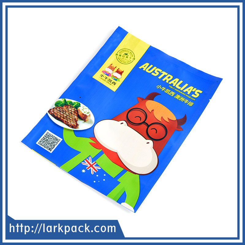 Fashion design food grade plastic compound bag for freezing raw beef packaging
