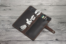 Custom design functional genuine leather foldable pencil bag case