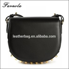 2015 Hot sale fashion women lady studs bag smooth plain leather cross body bag